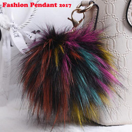 Wholesale Wholesale Handbags For Men - New Fluffy Large 13cm Faux Fox Fur PomPom Ball Car Handbag Pendant Keychain Key Ring for women
