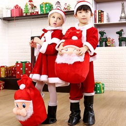 Wholesale Warm Santa Hat - Christmas Gift Cut Wear Christmas Santa Claus Fancy Dress With Shawl Hat Outfit Suit Costume Warm Saft For Baby Girl Boy Kids Clothing