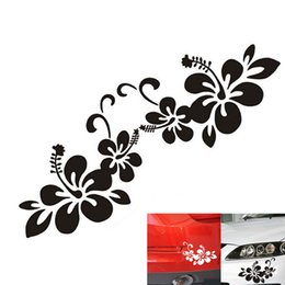 Wholesale Vinyl Car Silver - 1 Pair Plant Flower Bumper Personalized Creative Car Sticker Black Silver CEA_301