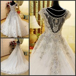 Wholesale Winter Long Sleeve Women Dresses - Luxury Crystal Beaded Wedding Dresses Romantic A Line Cap Sleeve Tulle Lace Applique Long Women Bridal Party Gowns