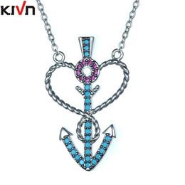 Wholesale Rod Necklace - KIVN Fashion Jewelry Pave CZ Cubic Zirconia Womens Girls God Rod Heart Arrow Blue Anchor Wedding Pendant Necklaces Christmas Birthday Gifts