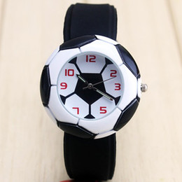 Wholesale Cheap White Silicone Watches - Dropshipping Cute Football Cartoon children watch for girls Rubber kids watches boys cheap blue Silicone Quartz WristWatch