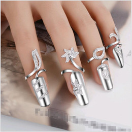 Wholesale Cheap Nail Jewelry - Korean Silver Finger Nail Rings Trendy Leaf Designs Open Mouth knuckle Fingernails with Rhinestone Nail Art Wrap Jewelry Cheap price
