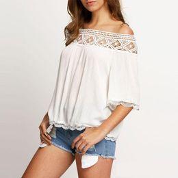 Wholesale Long Sleeve Lace Tee Shirt - T shirt crop tops women 2017 summer women clothing Ladies lace stitching black sexy plus size slash neck chiffon tee shirt femme