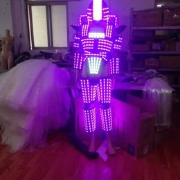 Wholesale Robot Helmet - LED Robot   LED Costume  LED Clothing Light suits  The programming controller sets the helmet