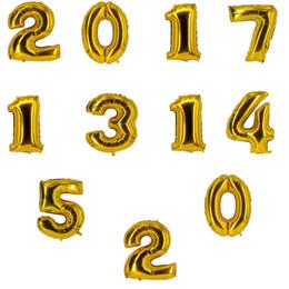 Decorazioni arabe del partito online-Numero arabo 0-9 Foil Balloon Christmas Birthday Party Decoration Palloncini in alluminio da 16 pollici Colore argento oro C155Q