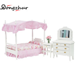 Wholesale Dollhouse Bedroom - Wholesale- Dongzhur Doll House Miniaturas 1:12 Model Dollhouse DIY Dollhouse Mini Pink Bed Dresser Chair Princess Bedroom Furniture Sets