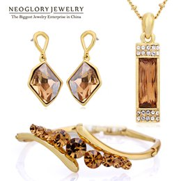 Wholesale Swarovski Crystal Earrings Sets - Neoglory MADE WITH SWAROVSKI ELEMENTS Crystal African Beads Jewelry Set Wedding Charm Gifts