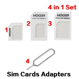 Wholesale Wholesale Sims Cards - 4 in 1 Brand nano SIM Card Adapter kit the microsim micro SIMs Cards holder Tray suit for apple iPhone 6 5 4 Samsung Accessories