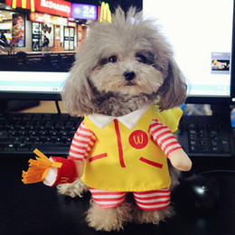 Wholesale Dog Cat Clothes Overalls - Pet cat dog cosplay McDonald costume small dog puppy poodle yorkie jacket coat overall jumpsuit clothes for dog