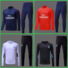 Wholesale Blue White Sweater - survetement training suit chandal Camisa Maillot de foot NEYMAR JR MBAPPE Ronaldo Real madrid tracksuit sweater jogging suit set jersey