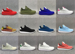 Wholesale Black Flats Size 11 - 2017 fknit Mens Pharrell Williams Stan Smith Running Shoes Fashion Running Sneakers for Men White Green Blue Drop Shiping Size US5-US 11