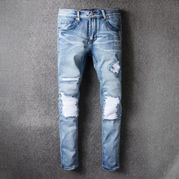 Wholesale Wash Design Denim Pant - Mens Amiri jeans fashion design 2017 with USA size blue jean pants distressed knees biker style