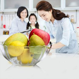 Wholesale Clear Glass Floral Flowers - Clear Glass Lovely Flower Shape Bowl of Fruit Salad Sets utensils Food Container Rice Bowl Household Tableware Kitchen Dinnerware