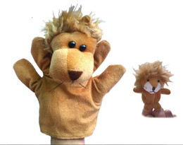 Wholesale Cute Lion Plush Doll - Wholesale- 2pcs set Large& Small Size Animal Glove Hand Puppet Toys Kawaii Novelty Cute Lion Muppet Dolls for Parent-child Early Childhood