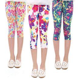 Wholesale New Design Girl Pants - Hot Sale 2017 New Summer Multi Designs 7th fashion girls leggings print flowers girls pants childrens trousers
