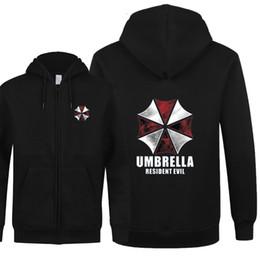 Wholesale Umbrella Sleeves - Wholesale- Fashion New Resident Evil Sweatshirts Men Fleece Zipper Hoodies Umbrella Corporation Cosplay Men Boy Coat Sweatshirts