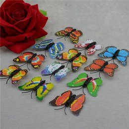 Wholesale Decorated Butterflies - Wholesale-10PCS   lot 3.5 cm small artificial colored plastic butterfly on supplies festive wedding car decorated artificial butterfly