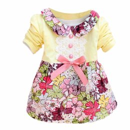 Wholesale Lace Baby Doll Collar Dress - Wholesale- 2016 All Season Long Sleeve Doll Collar Baby Girls Kids Dress 0-24M Infant Floral Lace Bow Clothes Dresses
