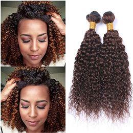 "Tramas de pelo marrón medio online-Kinky Curly # 4 Medium Brown Cabello humano teje 3 piezas Mink Brasileño Cabello humano Chocolate Brown Virgin Paquetes de cabello 10-30 ""Doble tramas"