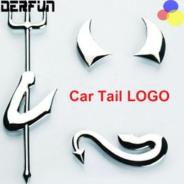 Wholesale Ford Focus Stickers - Metal Car Sticker Little Devil For Mazda Volkswagen Chevrolet Cruze Ford Focus 2 3 Silver Plating Car Styling