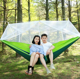 Wholesale Outdoor Hammock Swings - Mosquito Net Hammock Spring Autumn 260*140cm Outdoor Parachute Cloth Field Camping Tent Garden Camping Swing Hanging Bed OOA2117