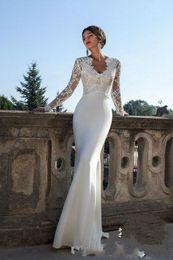 2019 pnina tornai rüschen brautkleider sexy elegante Meerjungfrau-Hochzeits-Kleider mit langen Ärmeln V-Ausschnitt Sweep Zug Satin und Spitze Brautkleider nach Maß