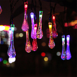 Wholesale Outdoor Solar Icicle Lights - Wholesale-2016 New Solar Powered Outdoor String Lights 20 Led Icicle Globe Patio Light For Garden Christmas Wedding Party