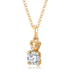 Wholesale Indian Sweets - Austrian Crystal Clear AAA CZ 18K Yellow Gold Plated Cute Bear Deisgn Sweet Necklaces & Pendants for Kids Girls Women