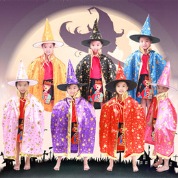 Wholesale Gowns Wholesale - Halloween Cloak Cap Party Cosplay Prop for Festival Fancy Dress Children Costumes Witch Wizard Gown Robe and Hats Costume Cape Kids 170821