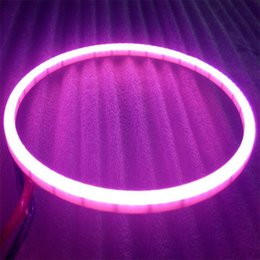 Wholesale Led Headlights Lights For Cars - 2x Pink Car Truck COB Led Angel Eyes Purple Halo Ring Light Led Headlights Turning Signal Lights Day Running Light For Auto
