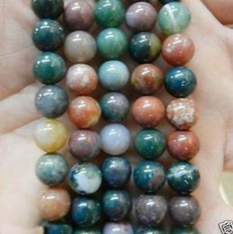 Wholesale Wholesale Gemstones India - New 6-10mm Multicolor Natural India RARE Agate Onyx Gemstone Loose Bead 15''
