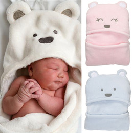 Wholesale Newborn Hooded Blanket - 5pcs lot Baby Coral Velvet Blankets Newborn Blankets soft Baby swaddling Winter Super Soft Bear Cartoon Hooded Warm Sleeping Bag WD068