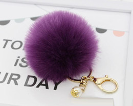 Wholesale Wholesale Pearl Keychain - 2017 Lanway Gold Rabbit Fur Ball Keychain fur pom pom Keychain fur keyring porte clef llaveros Pearl Key Chain For Bag Charm navidad regalos
