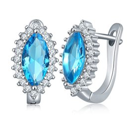 Wholesale Marquise Wedding Sets - Marquise Stone Shape Wedding Earring Stud Clip Colorful Cubic Zirconia Stone Brass Setting Sparkling Earring 022-ER0272
