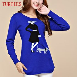 Wholesale Cashmere Dog Sweaters - Wholesale- New High Quality 2016 Women Cashmere Sweater Autumn Female Knitted Sweaters GIrl Dog Design Knit Pullover O- Neck Sweaters