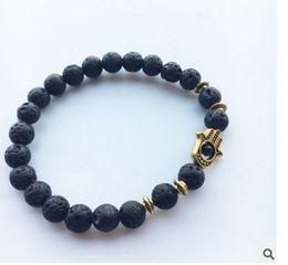 Wholesale Beaded Jewelry Designs - New Design Hot Sale Lava Stone Bracelet, Wholesale Antique Silver Hamsa Blue Evil Eye Jewelry