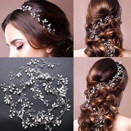 Wholesale Copper Wreath - Bridesmaid 100cm Length Handmade Pearl Hair Accessory Gold and Silver Wreath Bridal Headdress Hair Jewelry For Women Pageant BD002