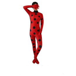 Wholesale Pink Skin Suits - Ladybug Girl Costume Miraculous Kids Marinette Cartoon Cosplay Second Skin Halloween Party costumes Suit