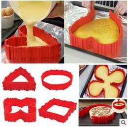 Wholesale Square Baking Moulds - Cooking Moulds Cake Silicone Cake Bake Snake DIY Silicone Cake Baking Square Round Shape Mold Magic Bakeware Too 4pcs setl