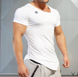 Wholesale Tights Long Sleeve Tees - Wholesale free shipping Men's T-shirt Singlets BE Short Sleeves Shirt Tight Fitness T shirt homme Muscle Crossfit Clothes Tee Tops