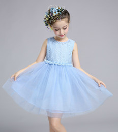 Wholesale Girl Ball Gown Skirts - 2017 baby girls new summer dress sleeveless Lace Princess Dress pearl flower skirt Princess for party