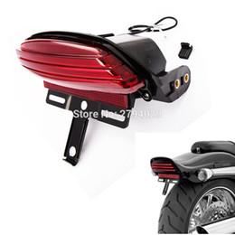 Wholesale Custom Led Tail Lights - Free Shipping Red Tri-Bar Fender LED Tail Light+Bracket For 06-UP Harley Softail FXST FXSTB FXSTC Custom