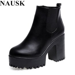 Wholesale Leather Platform Zip Ankle Boots - Wholesale- Botas Mujer Fashion Women Boots Square Heel Platforms Zapatos Mujer PU Leather Thigh High Pump Boots Motorcycle Shoes Hot Sale
