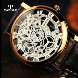Wholesale Retro Design Watch - 2017 Top Brand luxury Retro dress mens watches Simple design skeleton white dial rose gold case Luminous Glass Transparent quartz movement
