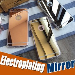 Wholesale Protection Shock - Deluxe Electroplating Mirror Shock-Absorption Clear Soft TPU Bumper Protection Cover Case For iPhone X 8 7 Plus 6S Samsung S8 S7 Note 8
