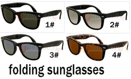 Wholesale Sports Sunglasses Folding - SUMMER Brand designer Fashion outdoors sunglasses For Men and Women Sport folding Sun glasses Black Frame Sunglasses 4colors FREE SHIPPING