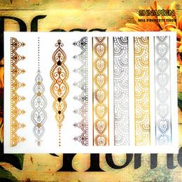 Wholesale Tattoos Lace Designs - Wholesale- 24 style Temporary Tattoo Body Art, Lace Desgin Gold Designs, Flash Tattoo Sticker Keep 3-5 days Waterproof 21*15cm