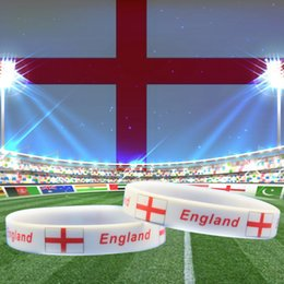 Wholesale Glow Cups Wholesale - England National Flag Design Bracelets World Cup 100% Silicone Gel Wristband Gym Fitness Energy Bracelets For Football Fans