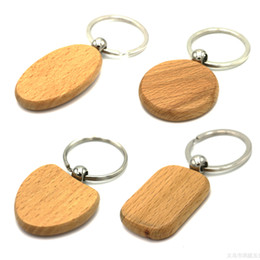 Wholesale Blank Wood Keychains - DIY Blank Wooden Key Chain Ring Holder WOODEN HEART KEYCHAIN Personalized Engraved Name Keychains Best Gift (5 Shape )